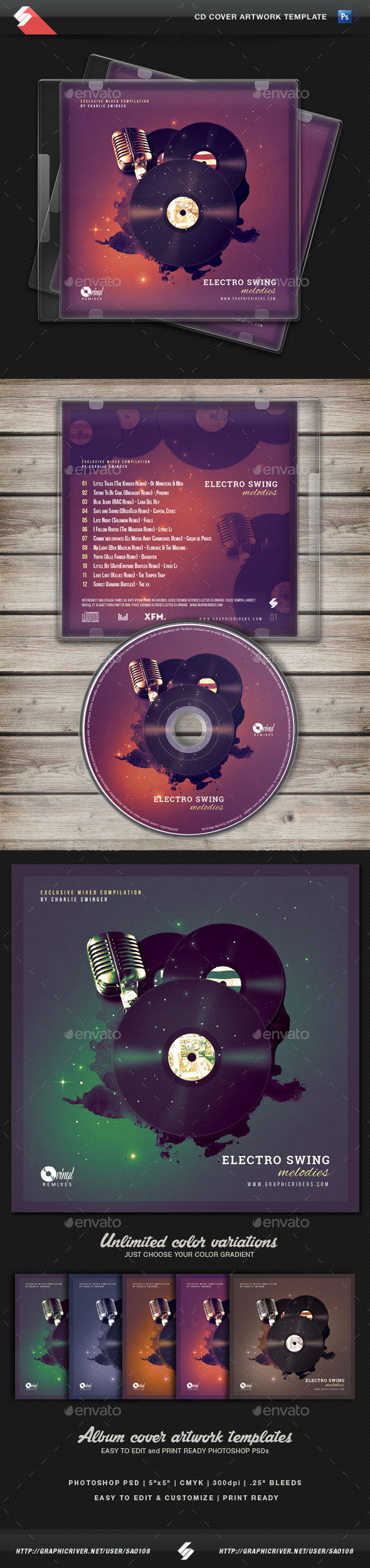Electro Swing CD Cover Artwork Template - CD & DVD Artwork Print Templates