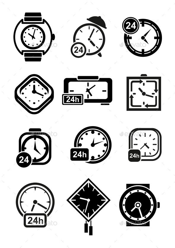 Clocks, Wristwatches And Alarm Clocks Icons - Objects Vectors