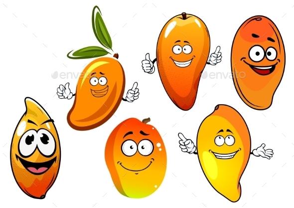 Orange And Yellow Cartoon Mango Fruits - Food Objects