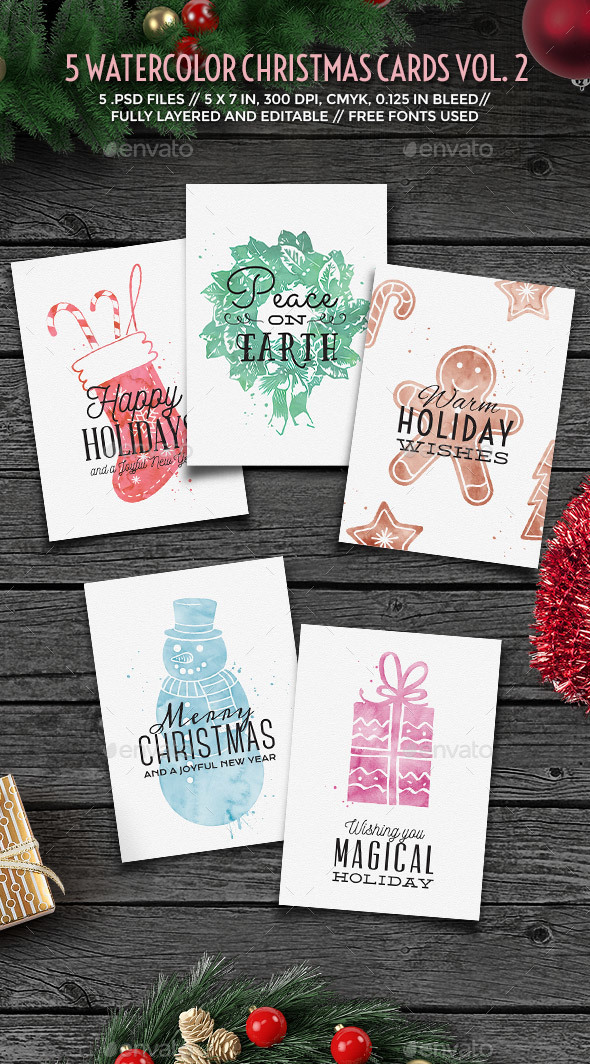 Watercolor Christmas Cards vol. 2 - Holiday Greeting Cards