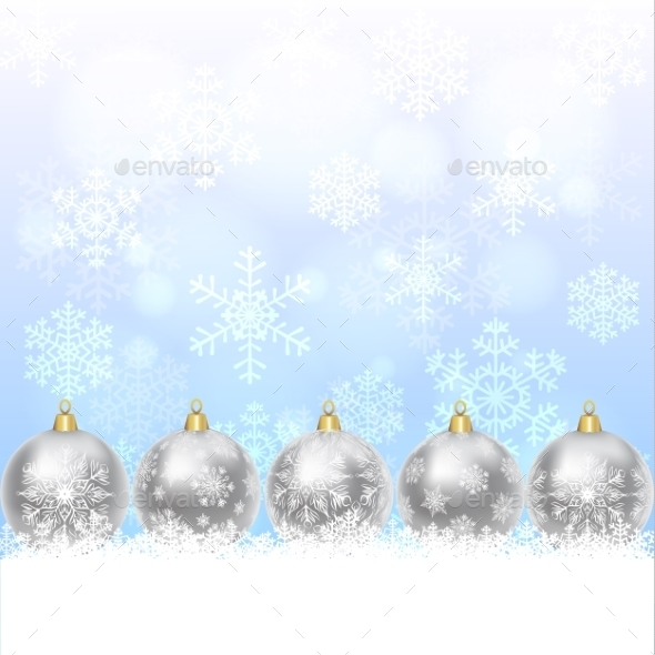 Silver Balls With Snowflakes Ornament - Christmas Seasons/Holidays