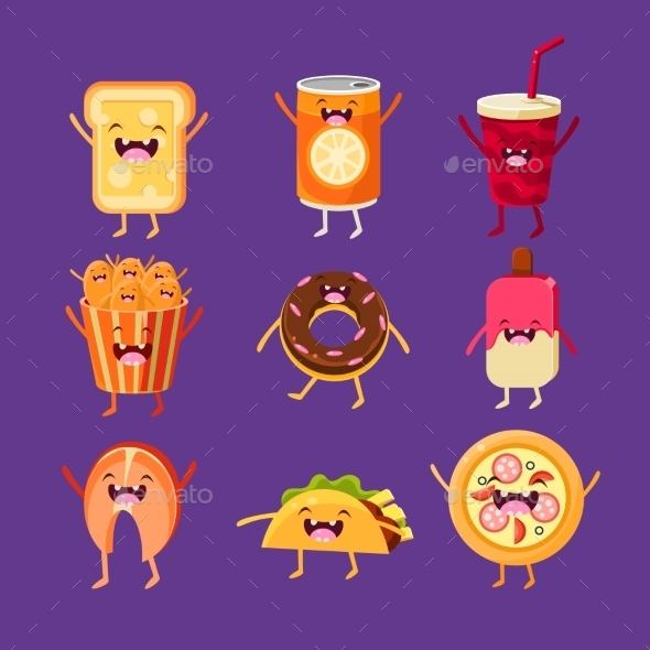 Fun Fast Food. Dishes With Cute Faces, Happy - Food Objects