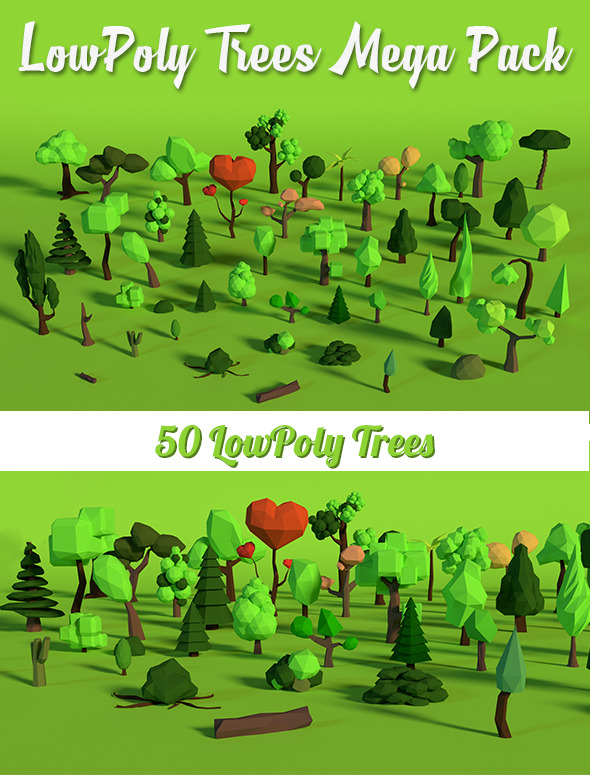 LowPoly Trees MegaPack Bundle - 3DOcean Item for Sale