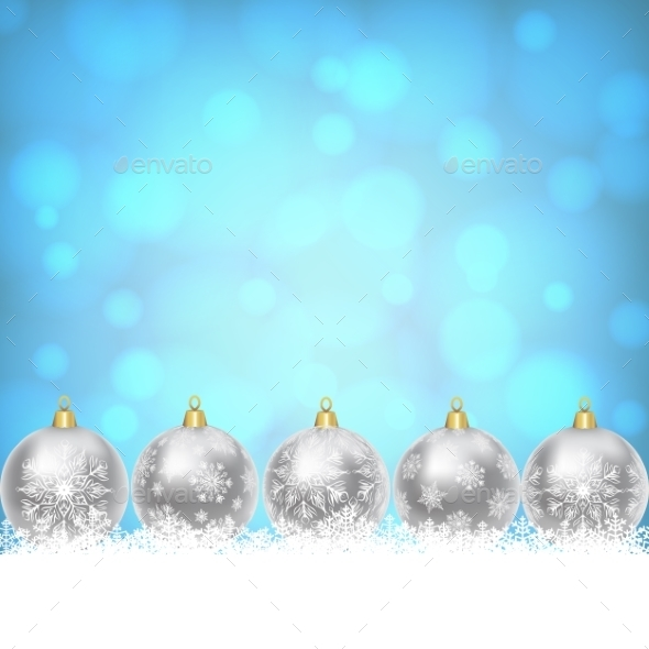 Christmas Balls On Shiny Blue Background - Christmas Seasons/Holidays