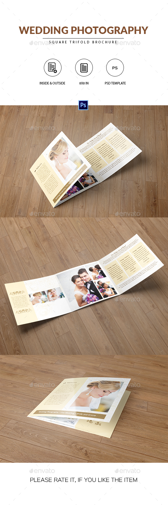 Square Trifold for Wedding Photographer - Catalogs Brochures