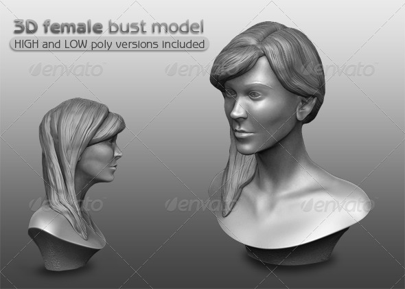 3D Female Bust Model - 3DOcean Item for Sale