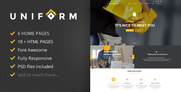 Uniform - Building & Construction HTML Template - Business Corporate