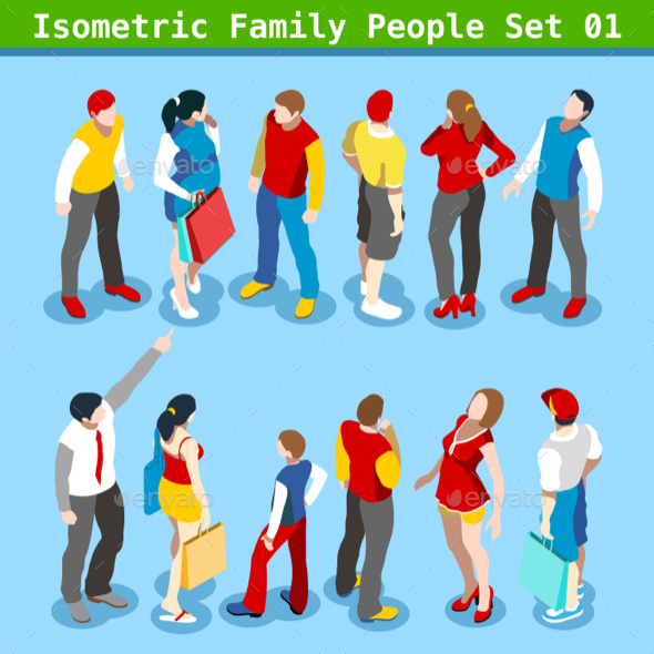 Family Set 01 People Isometric - People Characters