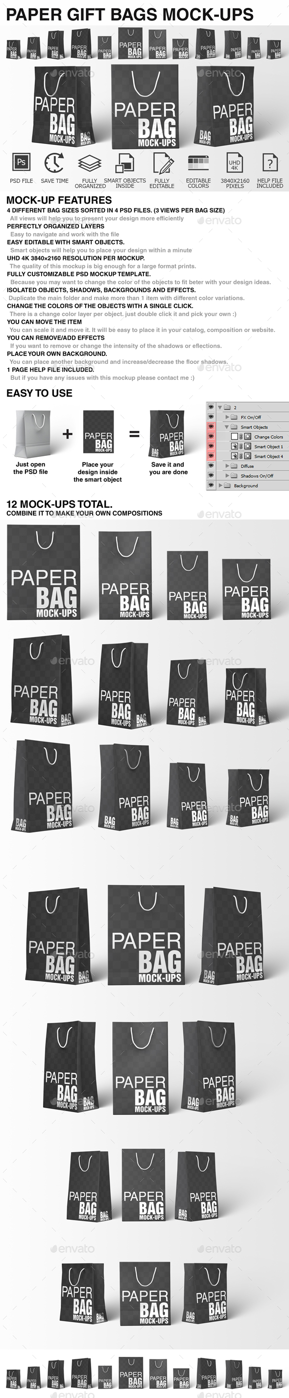 Paper Bag Mockups - Paper Shopping Gift Bag Mockup - Miscellaneous Packaging