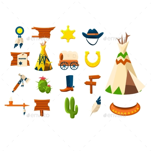 Wild West icons.Vector Illustration Of Cowboy - Web Technology