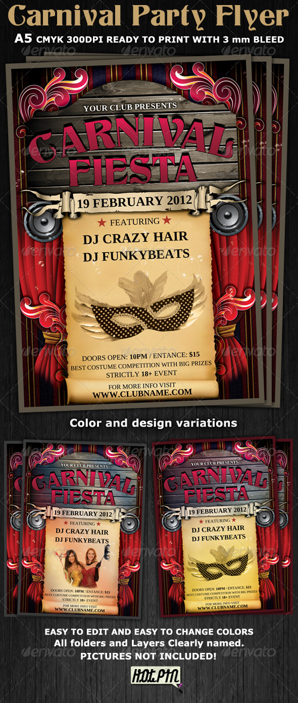 Carnival Club Party Flyer Template - Clubs & Parties Events