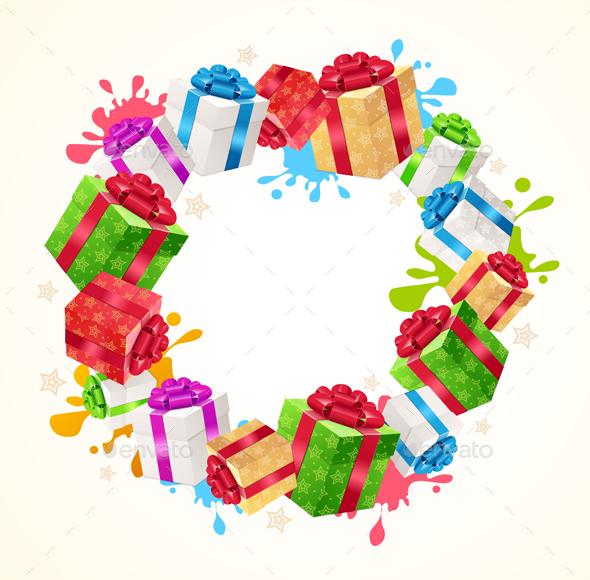 Present Boxes Frame Circle. Vector - Seasons/Holidays Conceptual