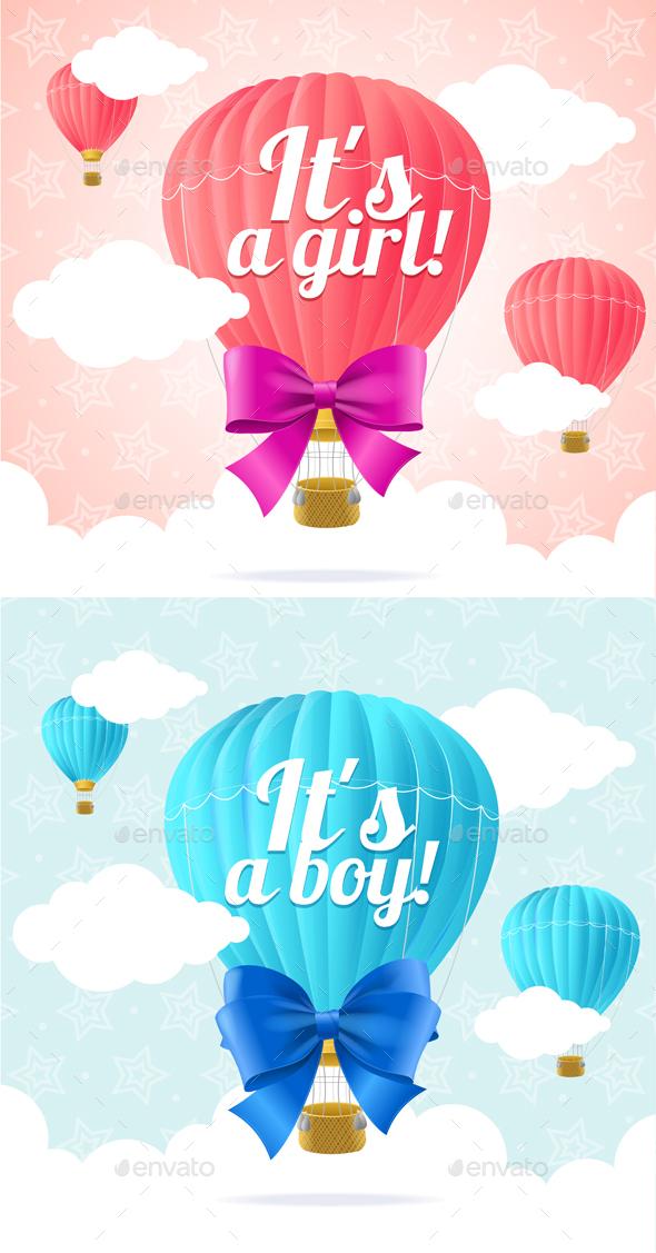 Boy Card and Girl Card. Vector - Conceptual Vectors