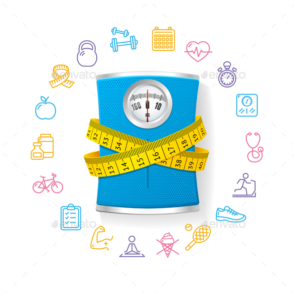 Bathroom Scale. Fitness Concept. Vector - Sports/Activity Conceptual