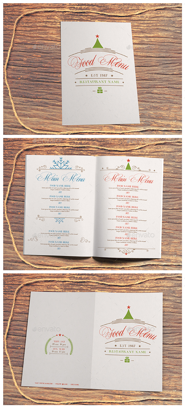 Winter & Christmas Food Menu II - Food Menus Print Templates