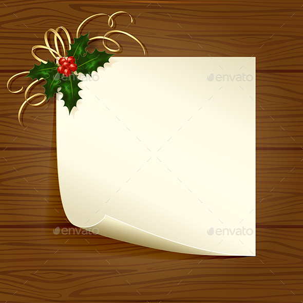 Holly Berry and Paper - Christmas Seasons/Holidays