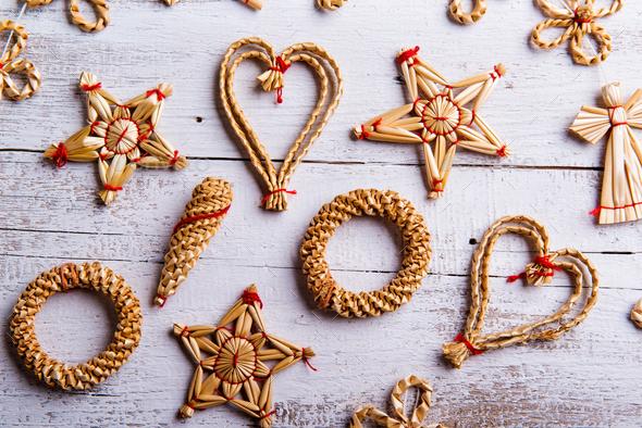 Christmas straw decoration. Studio shot. - Stock Photo - Images