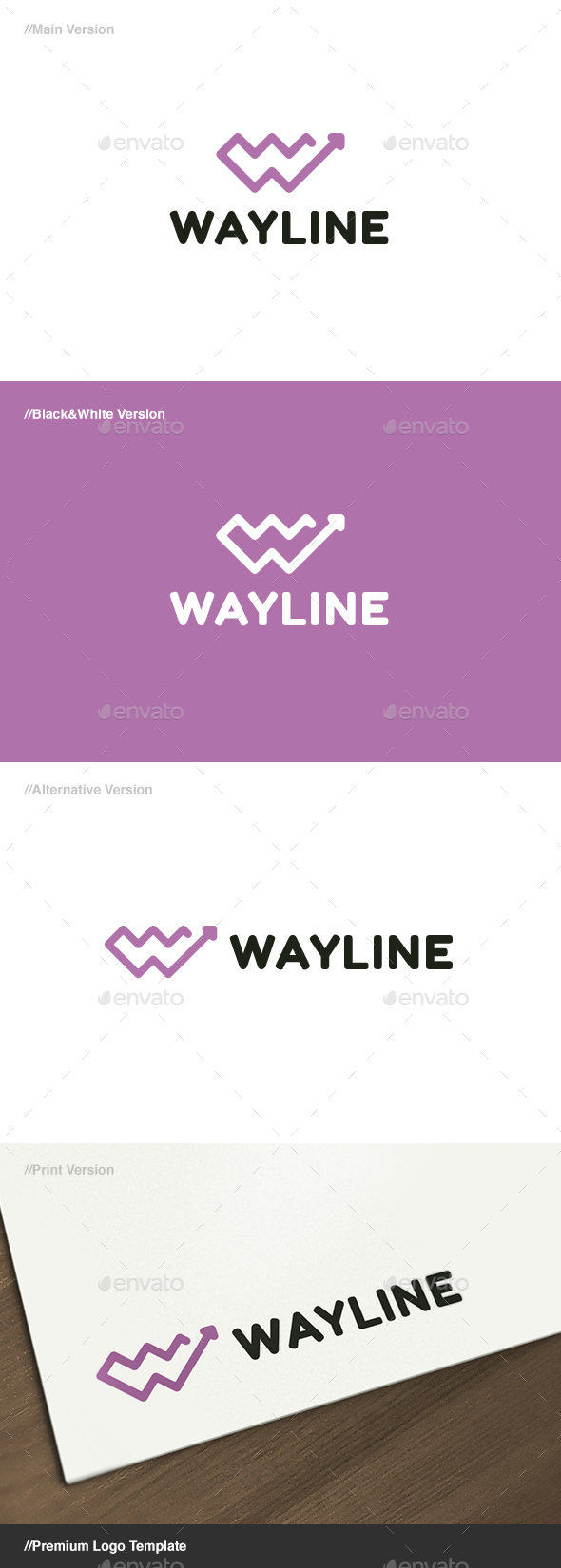 Way Line Letter W Logo - Letters Logo Templates