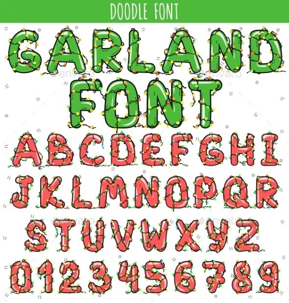 Font Garland. New Year And Christmas Alphabet - Christmas Seasons/Holidays