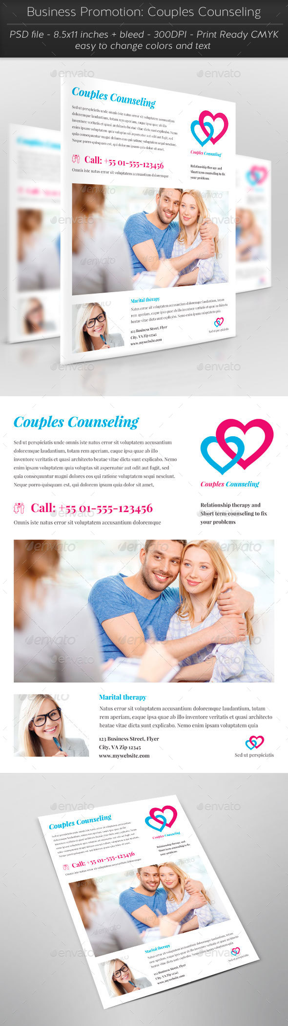Business Promotion: Couples Counseling - Flyers Print Templates