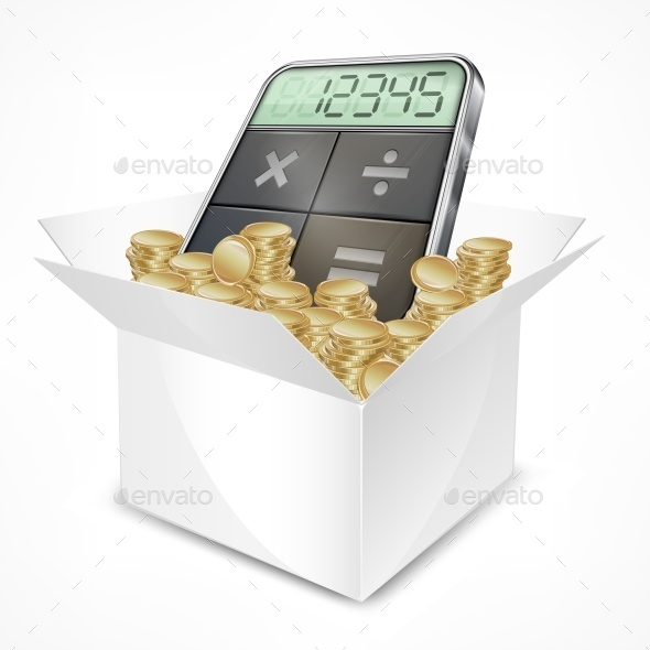 Pocket Calculator in Box with Coins - Miscellaneous Vectors