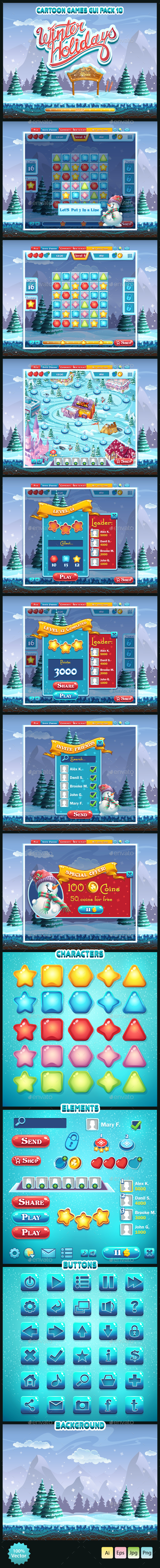 Winter holidays - GUI pack 10 - User Interfaces Game Assets