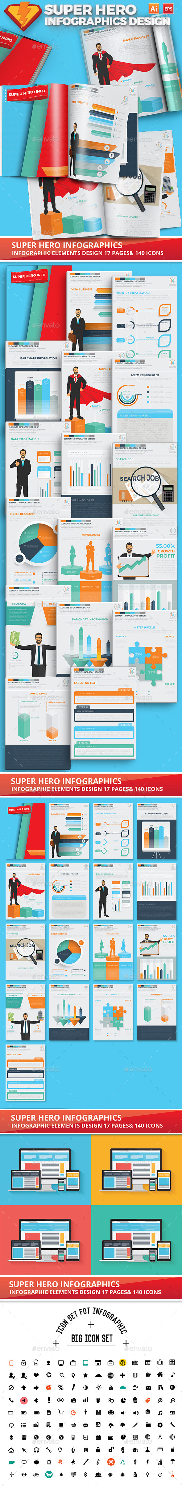 Super Hero Infographics Design 17 Pages - Infographics