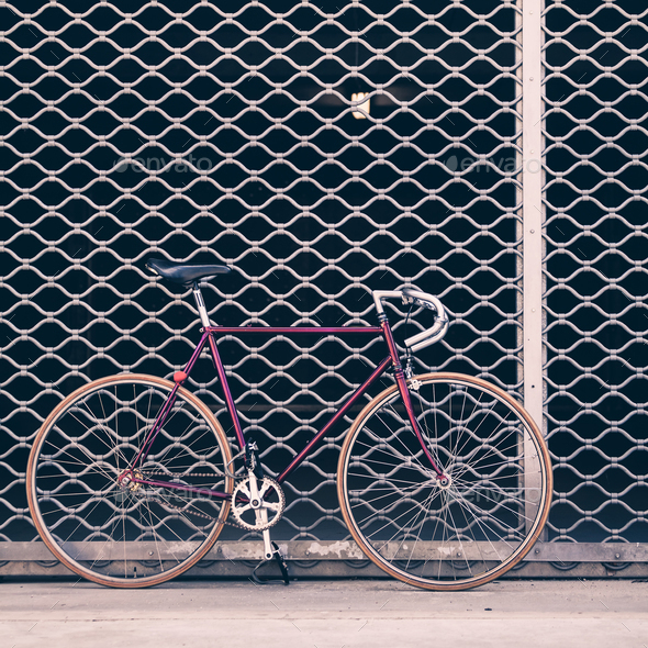 Road Bicycle And Concrete Wall Urban Scene Vintage Style