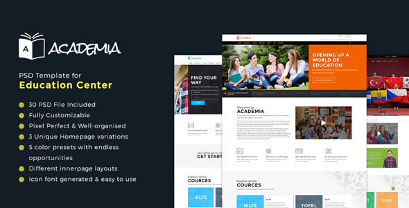 Academia – Educational PSD Template