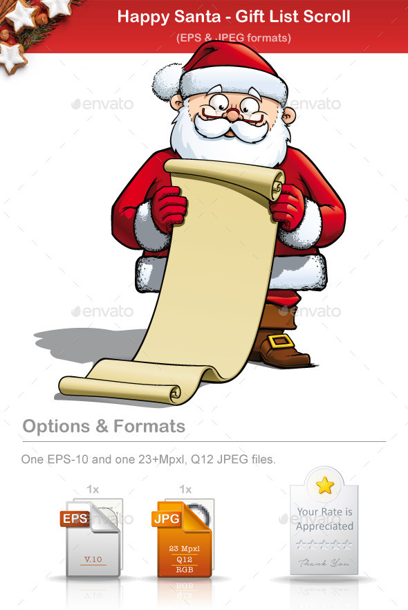Happy Santa - Gift List Scroll - People Characters