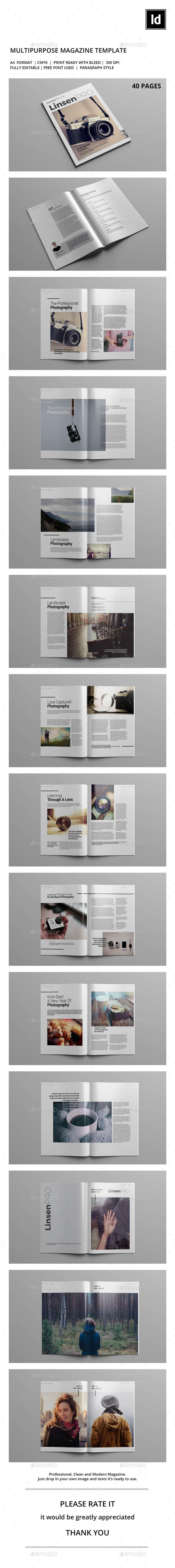 Linsen PRO Magazine Template - Magazines Print Templates