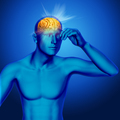 3D medical background with rays coming out of a male brain - PhotoDune Item for Sale