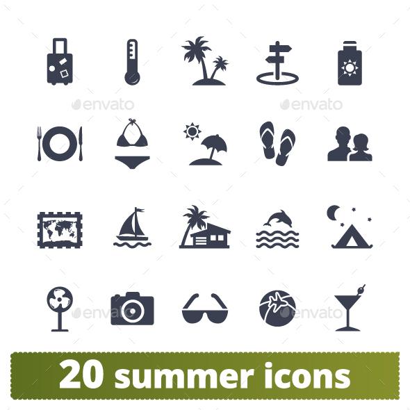 Summer Holidays Icons. - Seasonal Icons