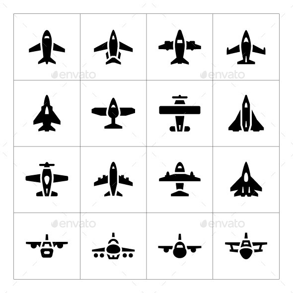 Set Icons of Planes - Man-made objects Objects
