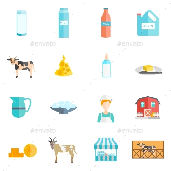 Milk Dairy Products Flat Icons Set - Food Objects