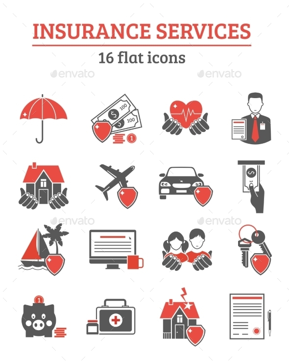 Insurance Services Icons Set  - Concepts Business