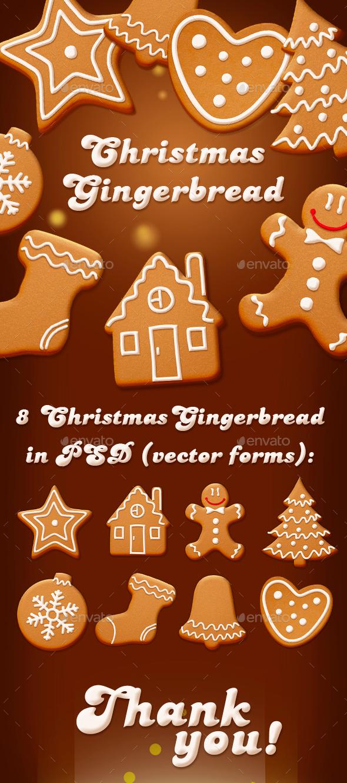 Set of 8 Christmas Handmade Gingerbreads - Graphics