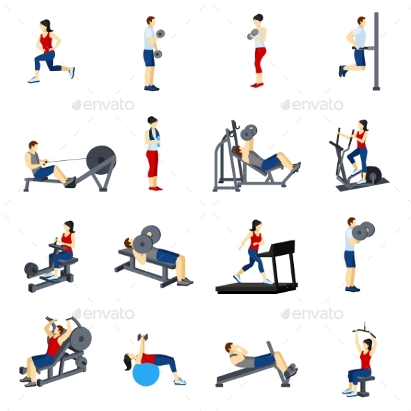 Fitness Gym Training Icons Set - Sports/Activity Conceptual
