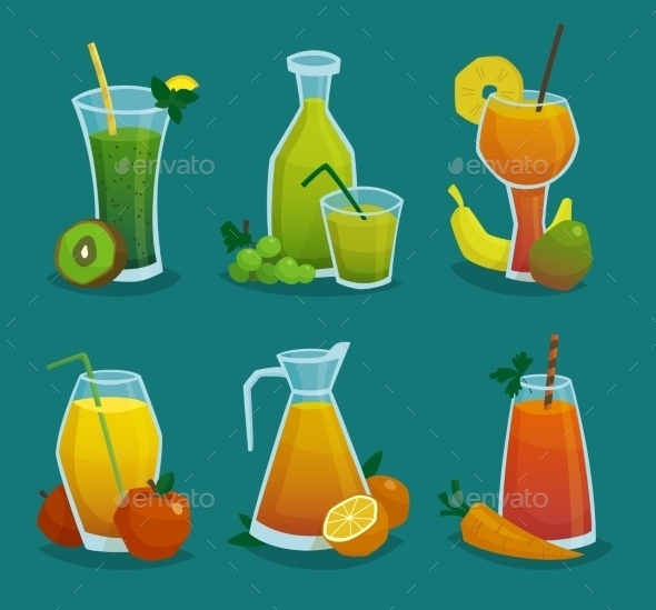 Fresh Juice and Fruits Icons Set - Decorative Symbols Decorative