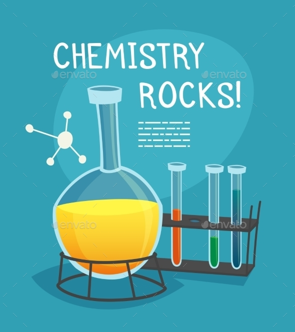 Chemical Laboratory Cartoon Concept - Decorative Symbols Decorative