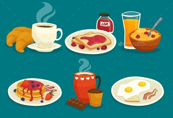 Set Of Breakfast Cartoon Icons - Food Objects