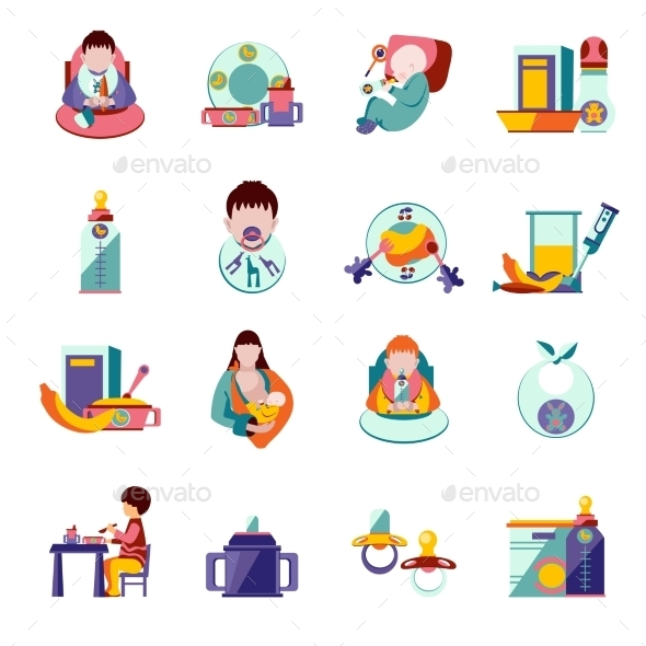Baby Feeding Icons - People Characters