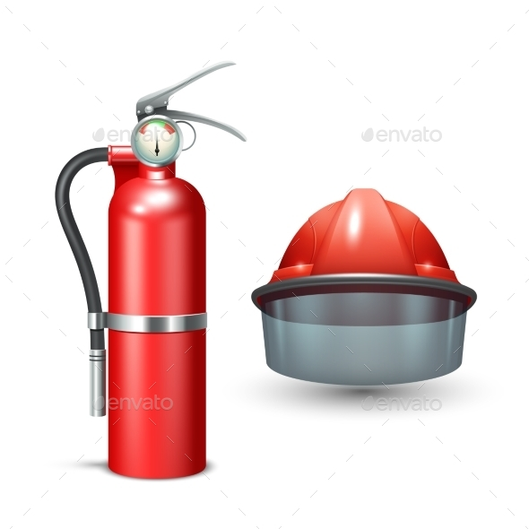Firefighter Helmet and Extinguisher - Man-made Objects Objects