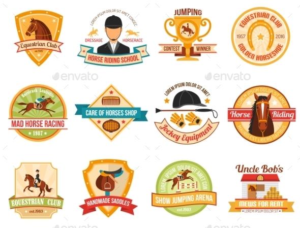Horse Sport Color Emblems Set - Decorative Symbols Decorative