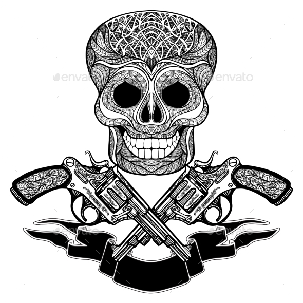 Crossed Guns With Ornaments  Ribbon And  Skull - Decorative Symbols Decorative