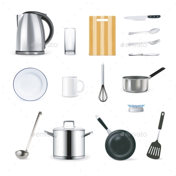 Realistic Kitchen Utensils Icons Set  - Man-made Objects Objects