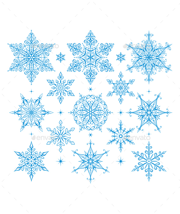 Set of Snowflakes - New Year Seasons/Holidays