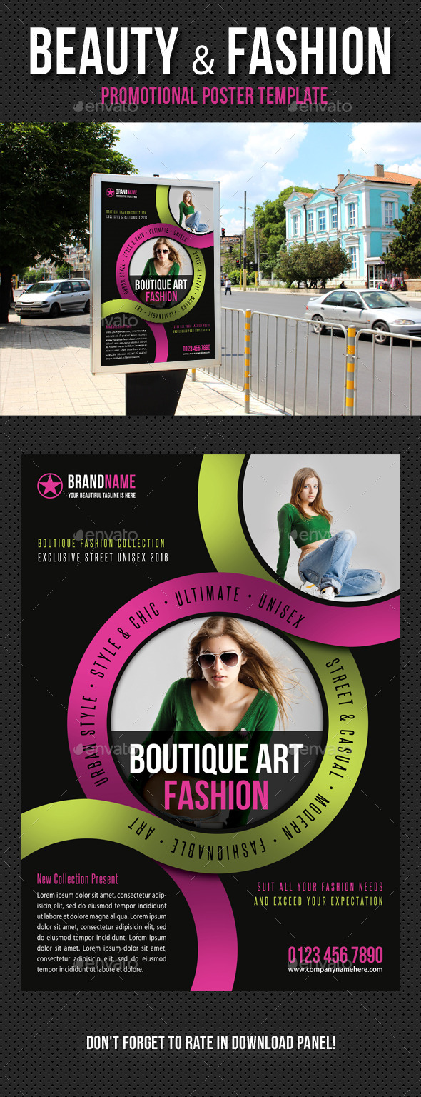 Beauty and Fashion Poster Template V12 - Signage Print Templates