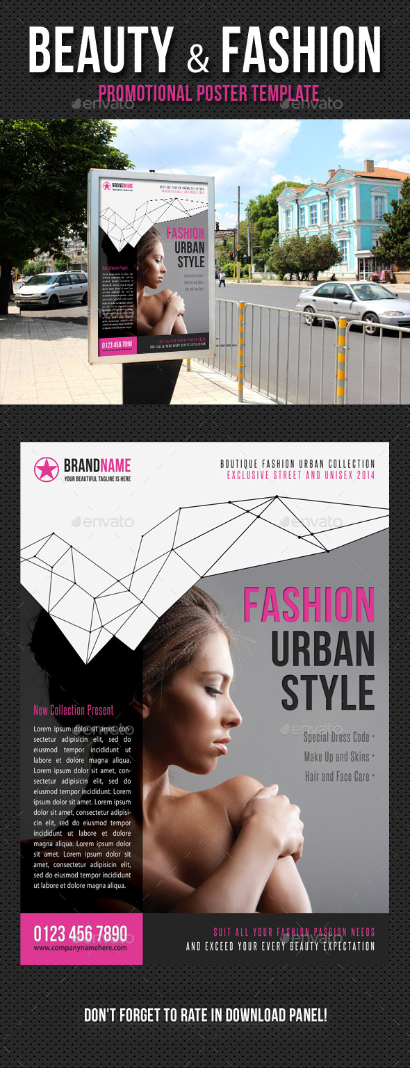Beauty and Fashion Poster Template V13 - Signage Print Templates
