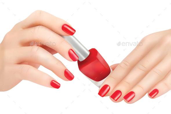 Hands with Red Polished Nails and Nail Polish Bottle - Health/Medicine Conceptual